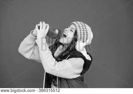 Explore The Potential Of Your Voice. Small Child Do Vocal Into Microphone Brush Red Background. Litt
