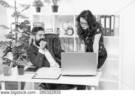 New Ways To Automate Business Processes. Managers Work In Modern Office. Bearded Man And Sexy Woman