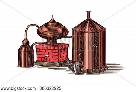 Distilled Alcohol. Device For Preparing Tequila, Cognac And Spirits. Engraved Hand Drawn Vintage Ske