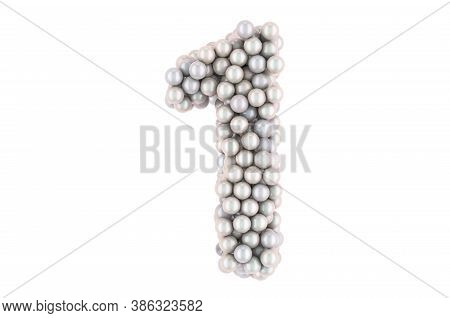 Number 1 From White Pearls, 3d Rendering Isolated On White Background
