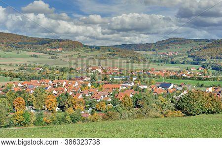 View To Village Of Oberfladungen  In Bavarian Rhoen,bavaria,germany