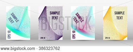 Minimum Vector Coverage.  A Set Of Trendy Covers.  Wave Lines.striped Background.  Trendy Geometric