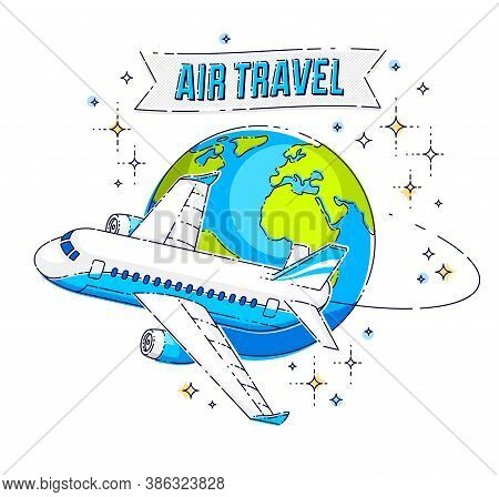 Airlines Air Travel Emblem Or Illustration With Plane Airliner, Planet Earth And Ribbon With Typing.