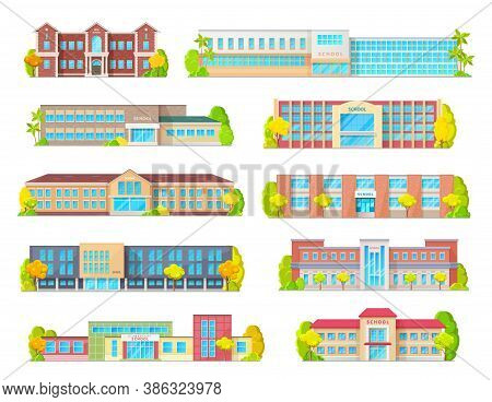 School Education Building Isolated Vector Icons With Primary, Junior, Elementary Or Grade School Ext