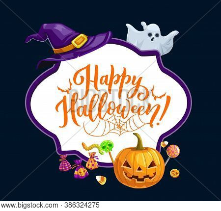 Happy Halloween Holiday, Trick Or Treat Horror Party Vector Frame. Halloween Scary Pumpkin Lantern,
