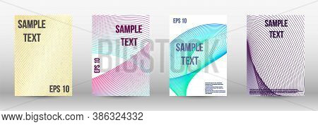 Modern Design Template. A Set Of Trendy Covers.  Wave Lines.striped Background.  Trendy Geometric Pa