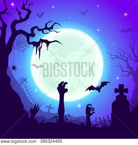 Night Cemetery With Zombie Hands, Vector Halloween Background Of Graveyard With Cross Tombs, Scary T