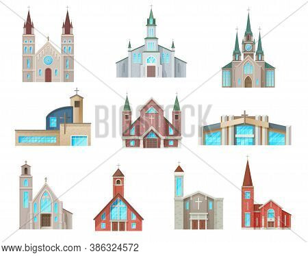 Catholic Church Buildings Vector Icons. Isolated Cathedral, Chapels And Monastery Facades. Medieval