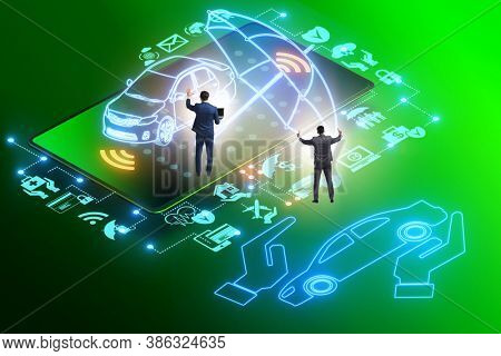 Concept of buying insurance online over internet