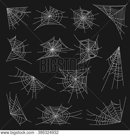 Spider Web Halloween Design. Vector Cobweb Isolated On Black Background. White Round And Corner Spid