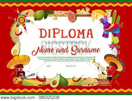 School Education Diploma Vector Template With Cartoon Cinco De Mayo Holidays Chili Peppers In Sombre