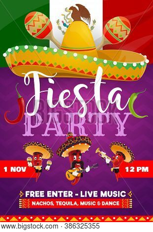 Fiesta Party Vector Flyer. Mariachi Band Jalapenos Chili Peppers In Sombrero Playing Trumpet, Maraca
