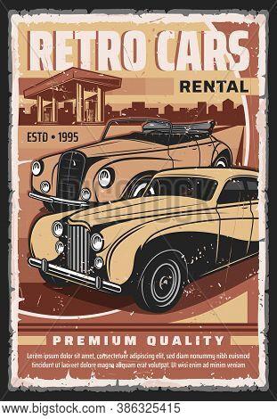 Vintage Cars Rental Service Vector Poster. Retro Limousine, Luxury Convertible, Cabriolet Sedan Near
