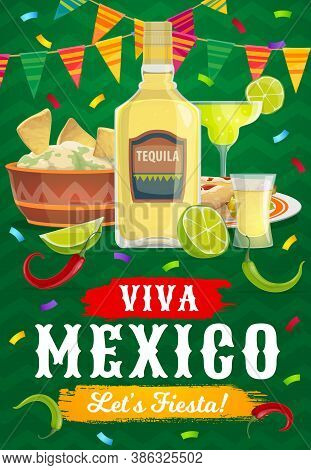 Viva Mexico Fiesta Party Food And Drink, Vector Mexican Holiday. Tequila, Avocado Guacamole And Corn