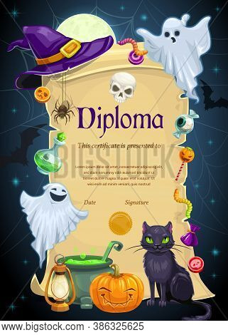 Diploma Certificate Vector Template Of Kids Education. Elementary School, Kindergarten Or Preschool