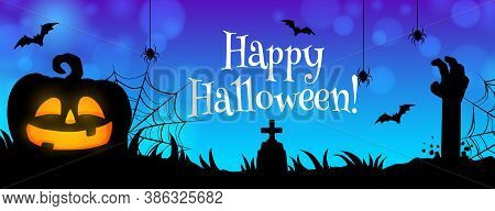 Happy Halloween Vector Banner. Night Cemetery With Zombie Hand On Night Background. Graveyard With C