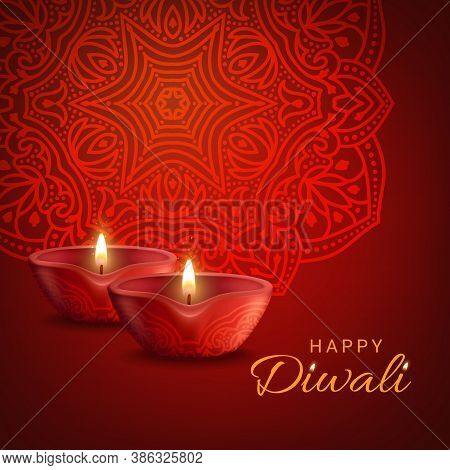 Diwali Indian Festival Of Lights Vector Poster. Hindu Deepavali Holiday Decoration, Burning Candles
