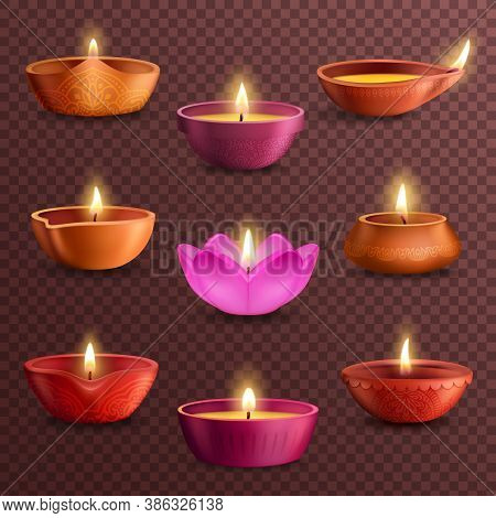 Diwali Diya Lamps On Transparent Background Realistic Vector Of Deepavali Light Festival. Indian Hin