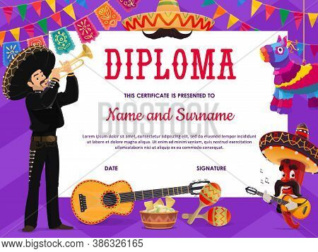 School Education Diploma Vector Template With Cartoon Mariachi Mexican Musician, Chilli Pepper In So