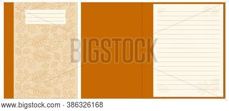 Colorful Cover Design With  Contour Drawing Autumn Leaves Seamless Pattern For Decorate Notebook, Sk