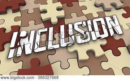 Inclusion Diversity Puzzle Pieces Involve All Diverse Groups Participate 3d Illustration