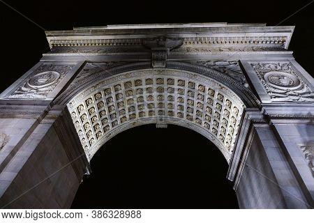 New York / Usa - September 19 2020: Close-up Of Washington Square Arch At Washington Square Park In