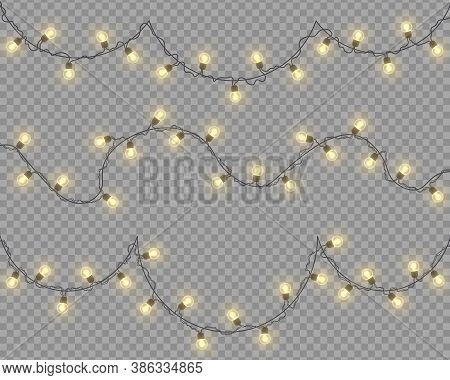 Glowing Lights For Design Of Christmas Holiday Cards. Christmas Lights, Decorations, Garlands Isolat