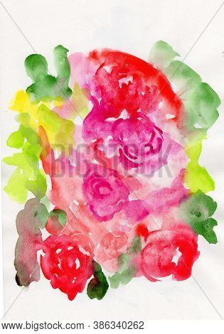 Watercolor Painting On Paper Of Roses, Semi Abstract Painting Of Flower