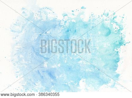 Abstract Watercolor Background Painting On Paper Texture, Light Blue Color Shades