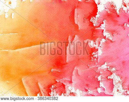 Abstract Watercolor Background Painting On Paper Texture, Orange, Red And Pink Color Shades
