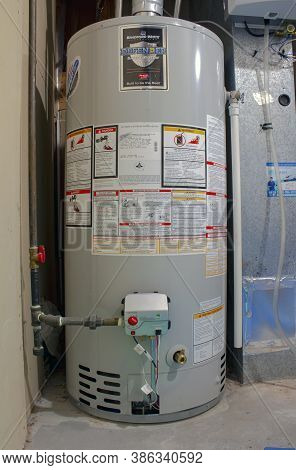 Calgary, Alberta, Canada. Sep 21, 2020. Bradford White Residential Gas Water Heater. Boiler Heating
