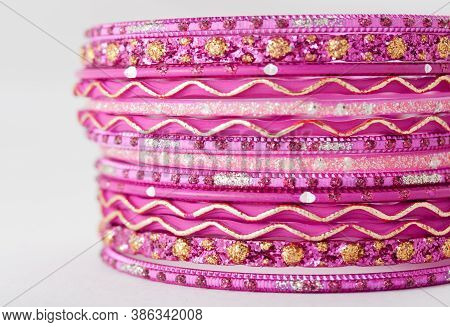 Closeup Shot Of Indian Traditional Bangles Used As Jewelry.