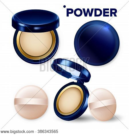 Makeup Powder And Puff Compact Cosmetic Set Vector. Powder Facial Beauty Cosmetology Portable Tool W