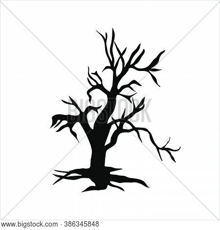 Black Scary Tree Icon So Creepy For Halloween Day.