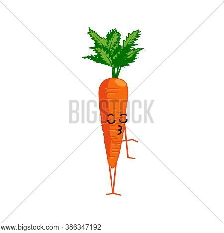 Cute Carrot Cartoon Character. Kawaii Vitamin Vegetable With Funny Face. Natural Vegetarian Food Emo