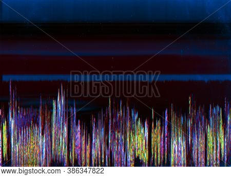 Glitch Abstract Background. Digital Or Analog Defect. Blue Purple Noise On Maroon Red Empty Space.
