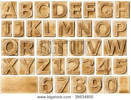 Wooden alphabet blocks with letters and numbers.