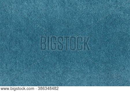 Blue Abstract Background. Felt Fabric Texture. Warm Fleecy Fiber Cloth Surface.