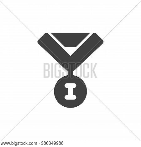 Winner Medal Vector Icon. Filled Flat Sign For Mobile Concept And Web Design. Champion Medal Glyph I