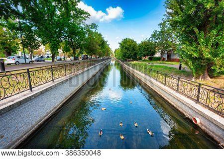 Beautiful scenery of the Radunia canal in Pruszcz Gdanski, Poland.