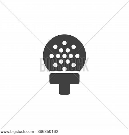 Golf Ball On Tee Vector Icon. Filled Flat Sign For Mobile Concept And Web Design. Golf Sport Glyph I