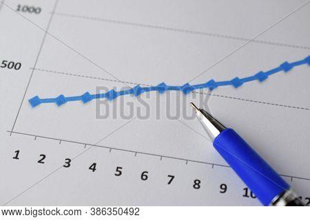 Pen On Bar Graph For Business Analysis Concept, Closeup