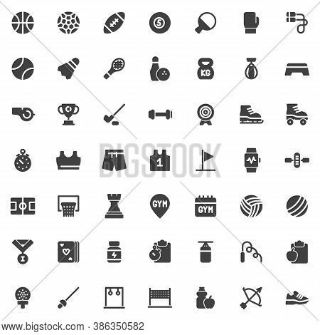 Sports Equipment Vector Icons Set, Modern Solid Symbol Collection, Filled Style Pictogram Pack. Sign