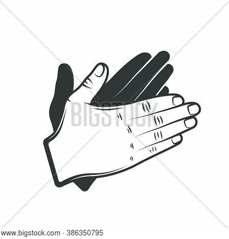 Hand Applause Isolated On White Background. Design Elements. Vector Illustration