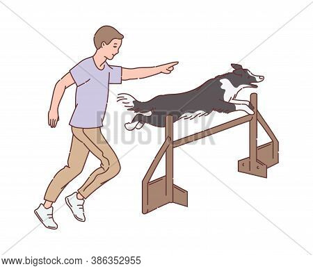 Cartoon Man Training Dog To Jump Over Hurdle - Pet Trainer And Animal