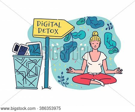 Digital Detox With Woman Enjoying Offline In Gadgets, Vector Illustration.