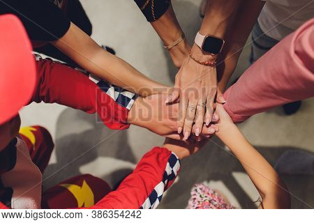 Close Up Of High Five Hand Gesture, Symbol Of Common Celebration Or Greeting, People Planning To Rea