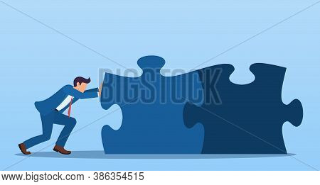 Businessman Pushing The Pieces Of Puzzles. Business Concept Of Joint Problem Solving. Vector Illustr