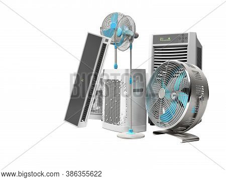 3d Rendering Of Blue Fans Air Conditioners And Portable Air Conditioners For Air Cooling White Backg