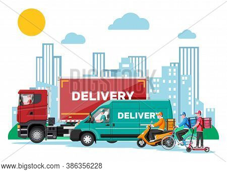 Set Of Delivery Man On Van Truck, Scooter, Motorbike, Bicycle. Fast And Free Delivery In City. Male